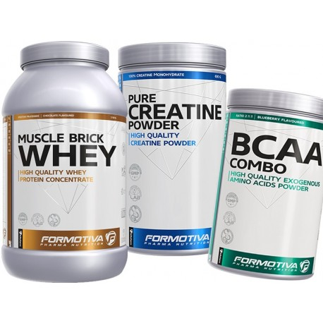 Formotiva - Muscle Brick Whey 2100g + Pure Creatine Powder 600g + BCAA Combo 500g