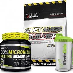 Hi Tec Whey Mass Builder 3kg + Biotech Creatine 500g + Shaker Gratis!