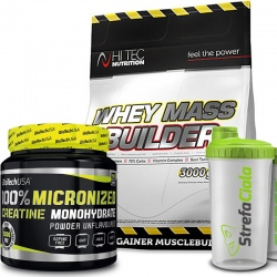 Hi Tec Whey Mass Builder 3kg + Creatine 500g + Shaker